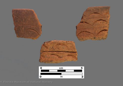 3 sherds of pottery with large half moon impressions