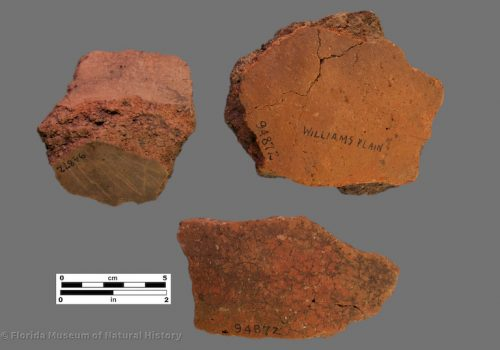 3 sherds of thick coarse pottery