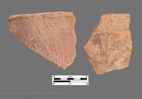 2 sherds of brushed pottery