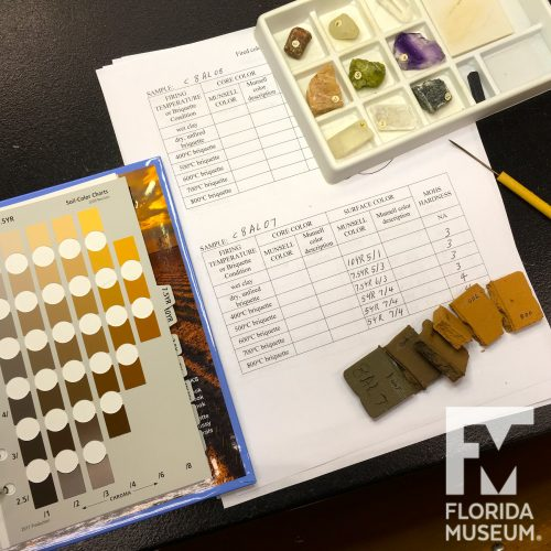 A table with paperwork, fired briquettes, a Munsell book of color chips, and Mohs hardness rock set
