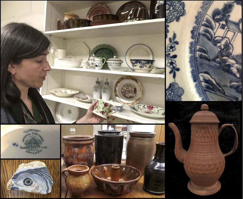 woman in front of shelves of historic pottery