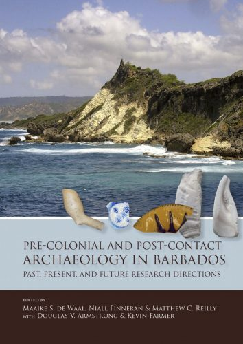 Book cover showing white cliff over water, and historic artifacts superimposed in foreground