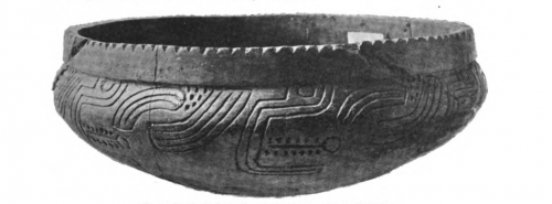 Incised pottery bowl b/w photo