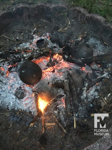 Firing with burning coals