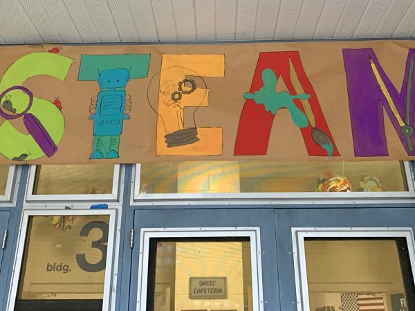student painted banner featuring the letters for STEAM