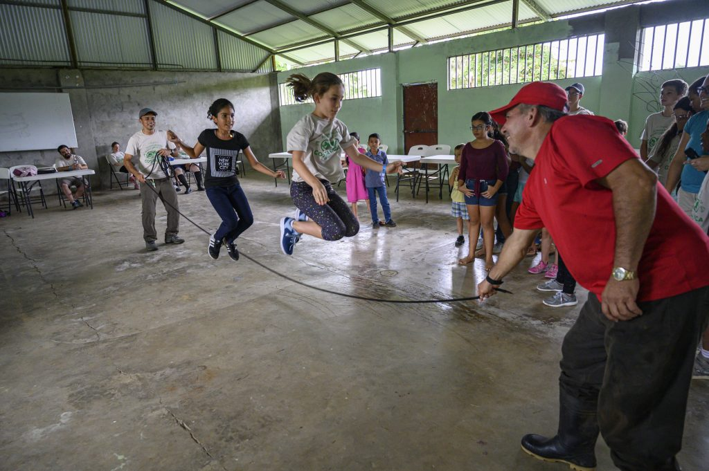 Children jumprope at a community center in Costa Rica.