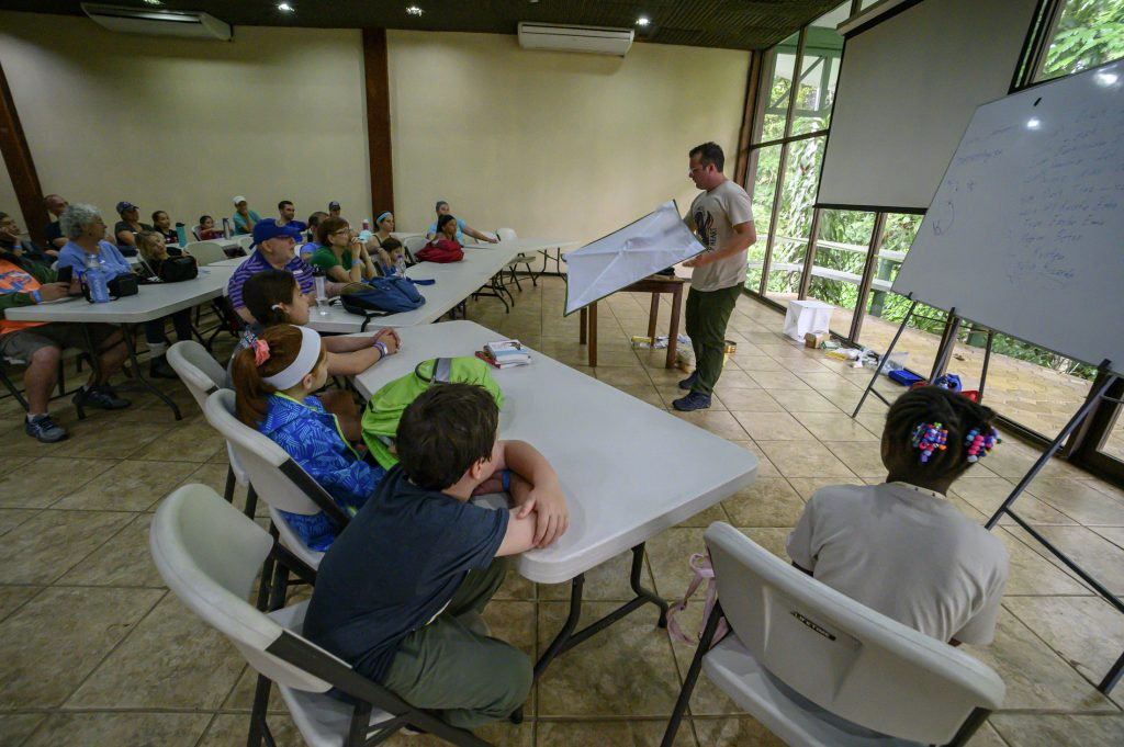 Camp participants learn how to use scientific field tools in a classroom at the Selva Verde Lodge in Costa Rica.