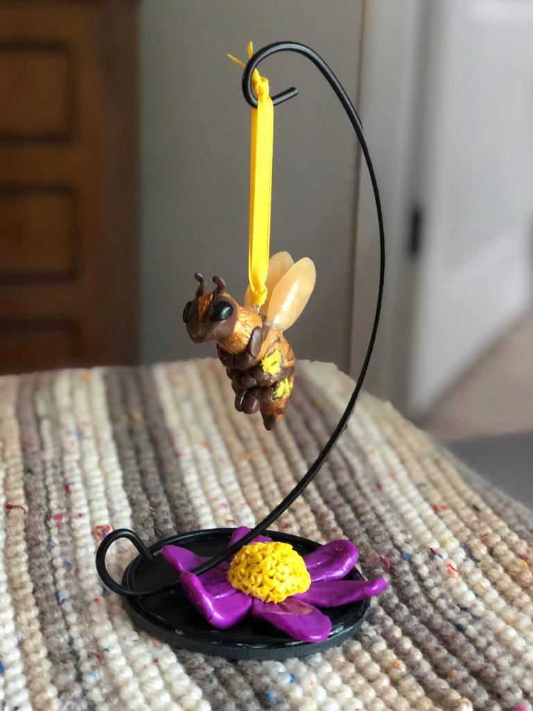 handcrafted 5K trophy shaped like a bee