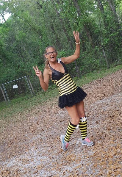 Virtual 5K runner dressed as a bumble bee