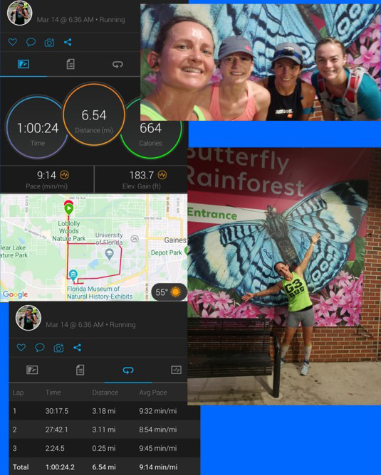 Four images. Two images of virtual 5K runners in front of the Butterfly Rainforest sign. Two images of the runner's time, distance and their route taken from an app.