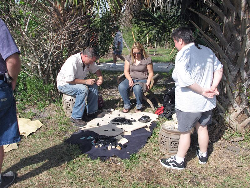 Michael Wylde chips chert, Calusa Heritage Day