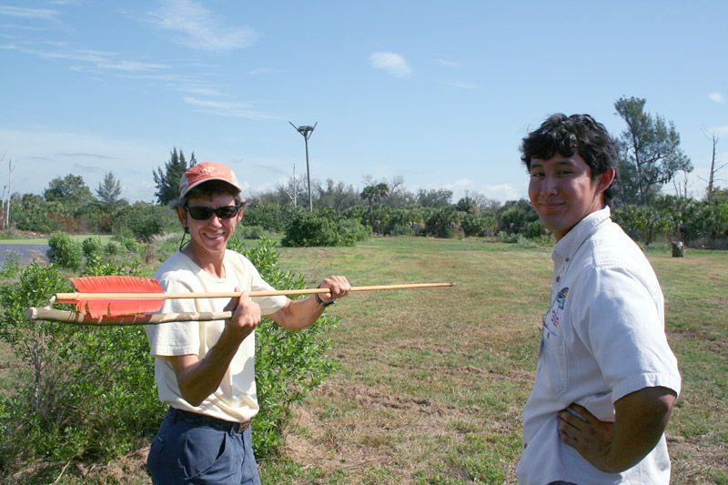 Jose Langone and Mickey Miller with atlatl