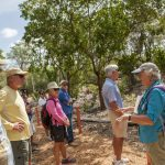guide speaking to trail visitors