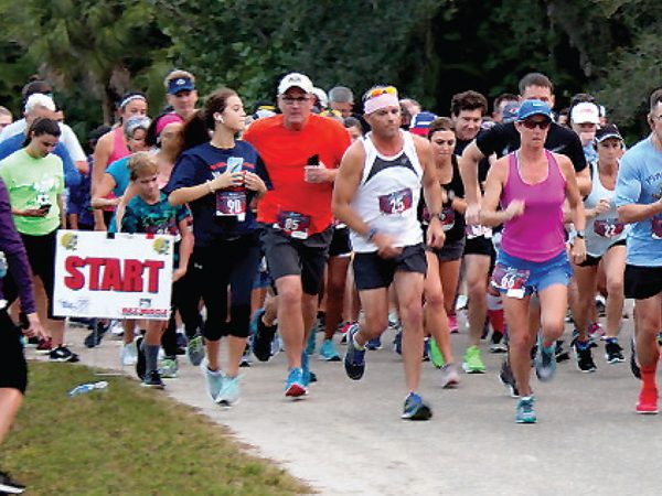Runners at the start of the Calusa 5K