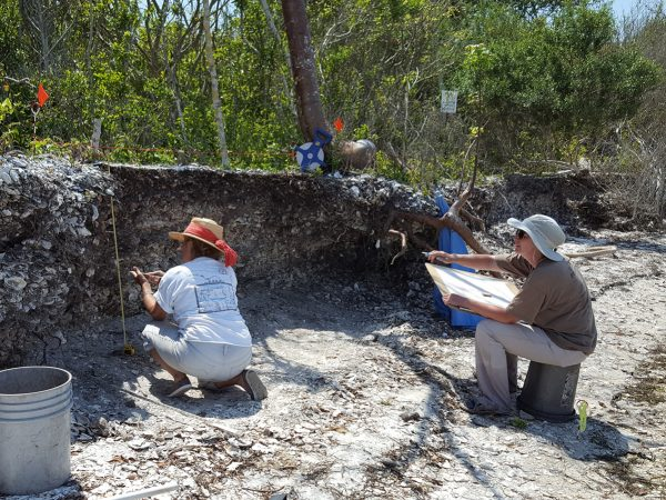 person measures midden while another draws on a large sketch pad