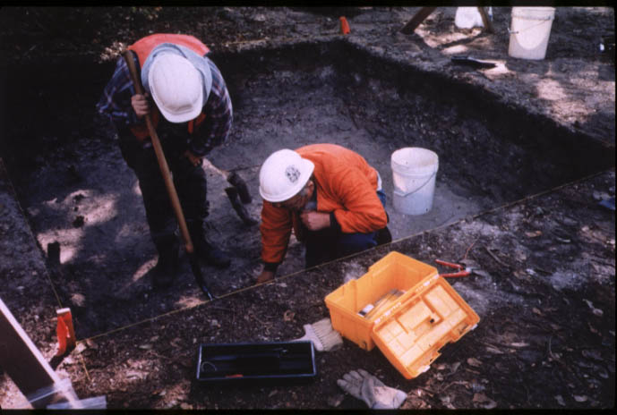 Excavators at dig site