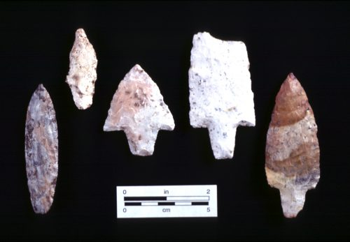 stone knives, dart points, and spear points