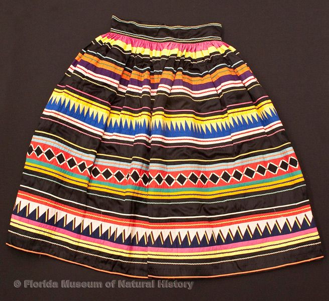 "Woman's skirt, Miccosukee, cotton cloth and thread, early 20th century, 30.7"" top to bottom (87-1-1)."