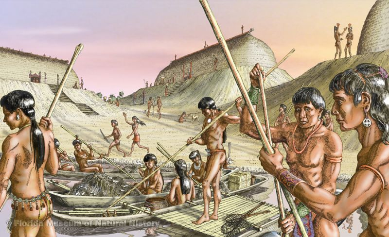 Artist's conception of Calusa people preparing for fishing in the estuary (Art by Merald Clark.)