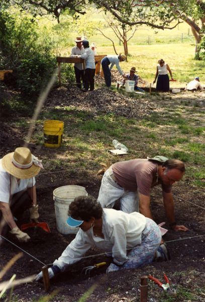 Volunteers at work, Pineland, October 1989.