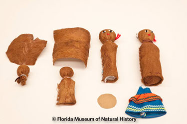 Figure 2: Doll making kit (2009-49-1 through 8). Photo credit: Eric Zamora. Collected by William Marquardt and donated on behalf of the Seminole elders.