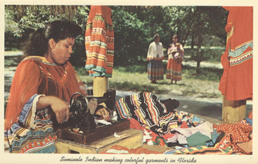 Figure 1: Post card of a Seminole woman sewing patchwork (2012-35-7). Donated by William Keegan.