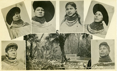 Figure 2: Post card of Seminole women's hairstyles (2013-6-7). Donated by Anne Reynolds.