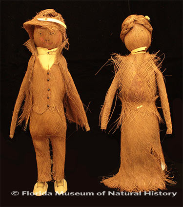 Figure 15: Pair of all-palmetto fiber dolls. Photo credit: Gypsy Price (2013-31-2/2013-31-3). Palmetto fiber, metal, wood. Circa 1930-1940, 32cm/32.07cm. Donated by Lynn Johnson .