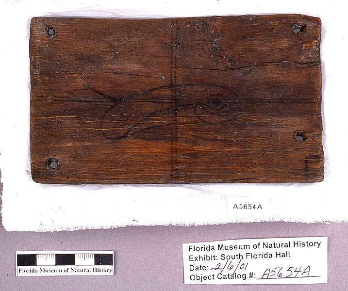 Box side with painted design, wood, found with reptile lid (A-5653) shown here, A.D. 700-1500, Key Marco, Collier Co. (A5654A)