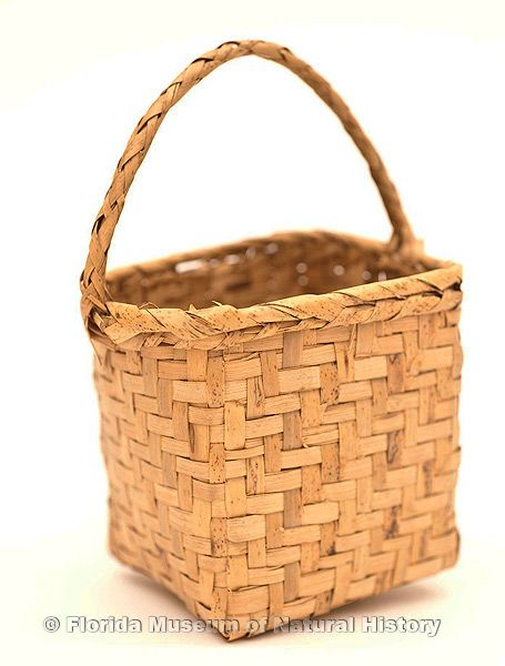 "Basket, Seminole, split saw palmetto stems, purchased at Bert Lasher's camp, Miami, 1943, 6.3"" high (92919)."