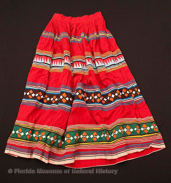 "Woman's skirt, Seminole, cotton cloth and thread, 20th century, 37.8"" top to bottom (2007-7-3)."