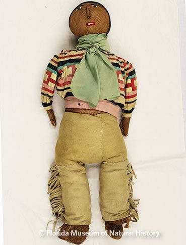 Figure 27: Doll, Male, Seminole (2012-50-10) Cotton cloth, leather, palmetto fiber, metal. Circa 1920-1950, 55.56cm. Donated by Anne Reynolds.