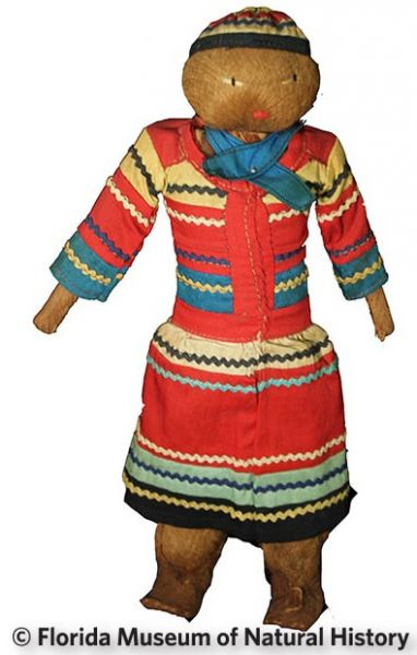 Figure 26: Male doll, Seminole (2012-50-28) Palmetto fiber, cotton cloth. Date unknown, 20.05cm Donated by Anne Reynolds