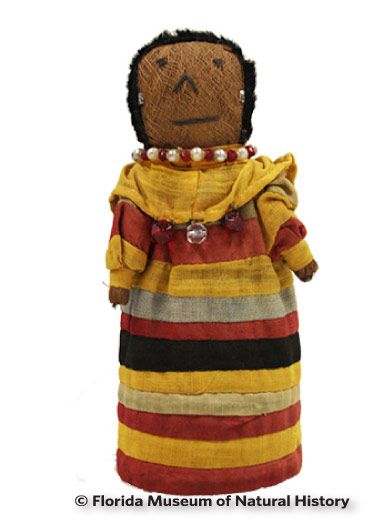 Figure 25: Square headed doll, Seminole (2013-31-1) Cotton cloth, palmetto fiber, glass beads. Circa 1950 or later, 20.5cm. Donated by Lynn Johnson.