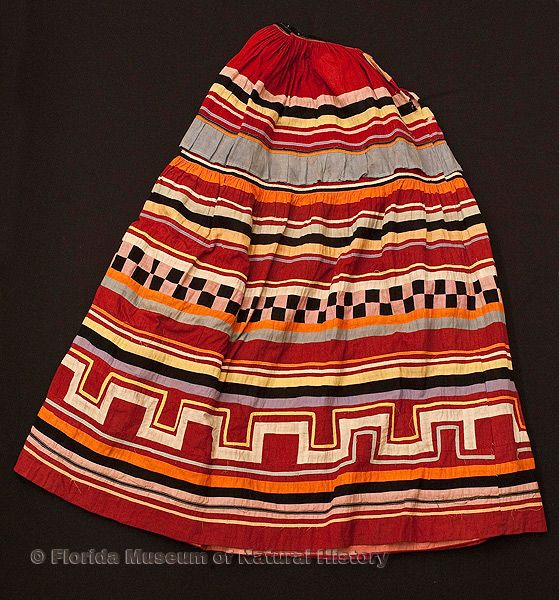 "Woman's skirt, Seminole, cotton cloth and thread, early 20th century, 36.0"" top to bottom (98-7-2)."
