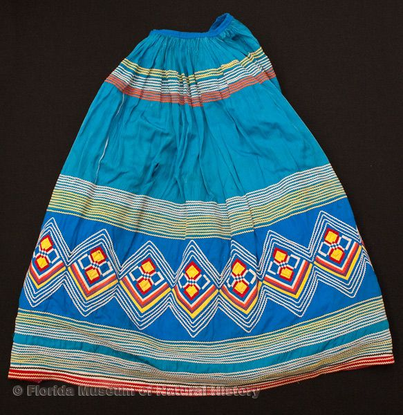 "Woman's skirt, Seminole, cotton cloth and thread, made by Ruby Clay (nee Billie), early 1960s, 35.0"" top to bottom (E-699)."
