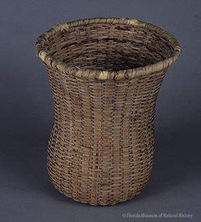 Figure 1: Pack basket, Miccosukee, palmetto stems and leaves, 1942, 30 x 30 cm. Made by Mary Tommie, collected by John M. Goggin (3933-92925).