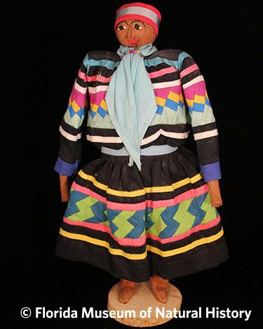 Figure 8: Male doll, Seminole (2012-50-34) Wood, palmetto, cotton cloth. Circa 1940-1960, 26.04cm. Donated by Anne Reynolds.