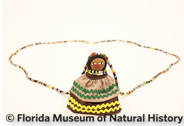Figure 22: Seminole doll Necklace. (2006-20-8) Palmetto fiber, cotton cloth, glass beads. 2006, 6.2cm.