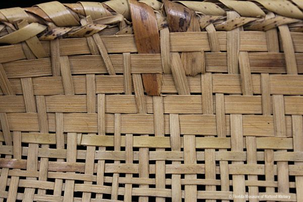 Basket, Miccosukee, split palmetto, 2/2 twill, 1939, 7 x 29 cm. Collected at Josie Billie's Camp by John M. Goggin (3933-92907).