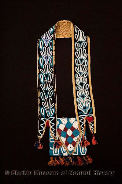 "Bandolier bag, Seminole, cotton cloth, glass beads, ca. 1830s-1840s, 4.0"" maximum width of band (E-603)."