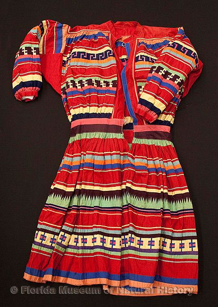 "Man's long shirt, cotton cloth and thread, made at Tamiami Trail, 1950, 49.2"" top to bottom (92782)."