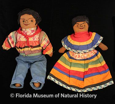 Figure 18: Male and female rag dolls, Seminole (2012-50-36/2012-50-37). Cotton cloth, yarn. Circa 1950-1960, 34.92cm/29.53cm Donated by Anne Reynolds.