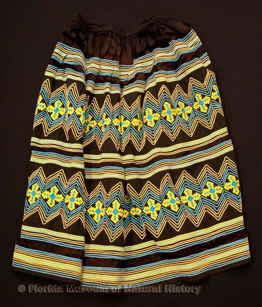 "Woman's skirt, Seminole, cotton cloth and thread, satin cloth, made by Dorothy Buster, 1970s, 35.5"" top to bottom (2008-27-2)."