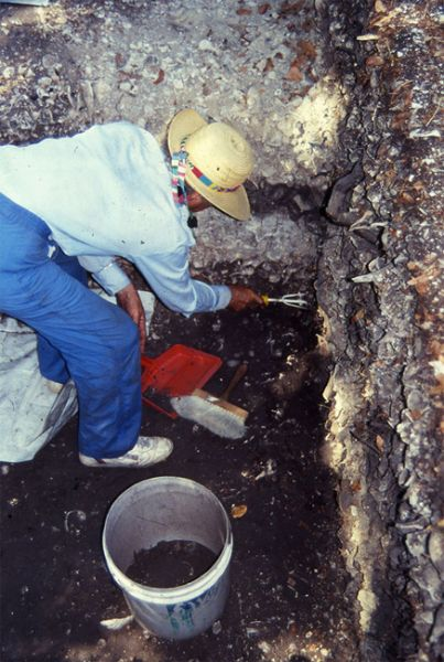 Barbara Dobbs in excavation unit I-1, Pineland, April 1990.