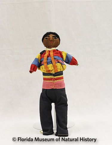Figure 9: Male doll, Rancher style, Seminole (2012-50-20) Palmetto fiber, cotton cloth. Circa 1942, 15.08cm. Donated by Anne Reynolds.
