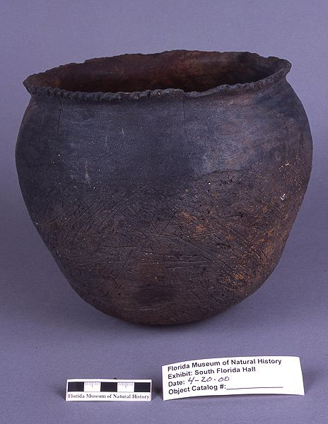 Chattahoochee Brushed pot, ceramic, Oven Hill, Suwannee River, Dixie Co. (A-2073)