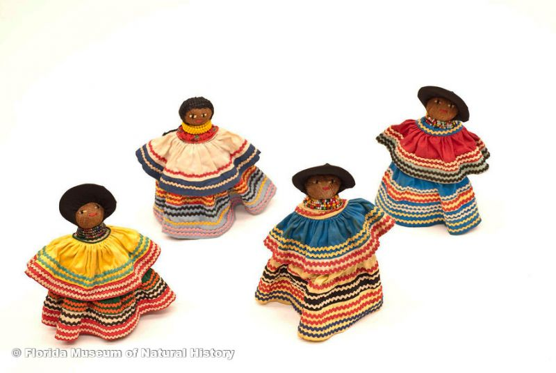 "Dolls, female, Seminole, cotton cloth, glass beads, palm fiber, early 20th century, 6.7"" high (2007-7-9), 6.6"" high (2007-7-10), 7.7"" high (2007-7-12), and 7.4"" high (2007-7-11)."
