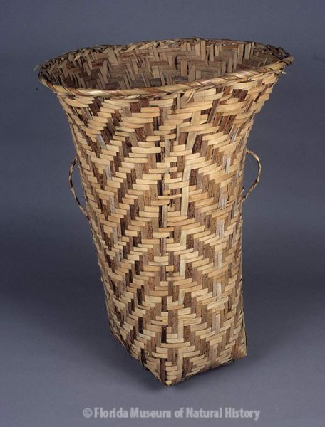 Basket, Miccosukee, split palmetto, 3/3 twill,1942, 67 x 26 x 21 cm. Made by Ada Tiger, collected by John M. Goggin (3933-92785).