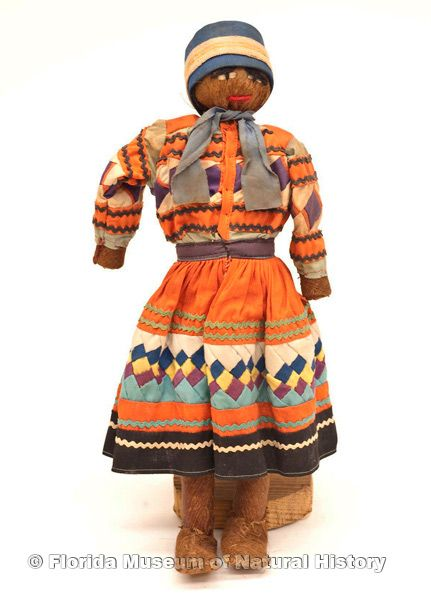 "Doll, male, Seminole, cotton cloth, palm fiber, early 20th century, 12.8"" high (2007-7-15)."